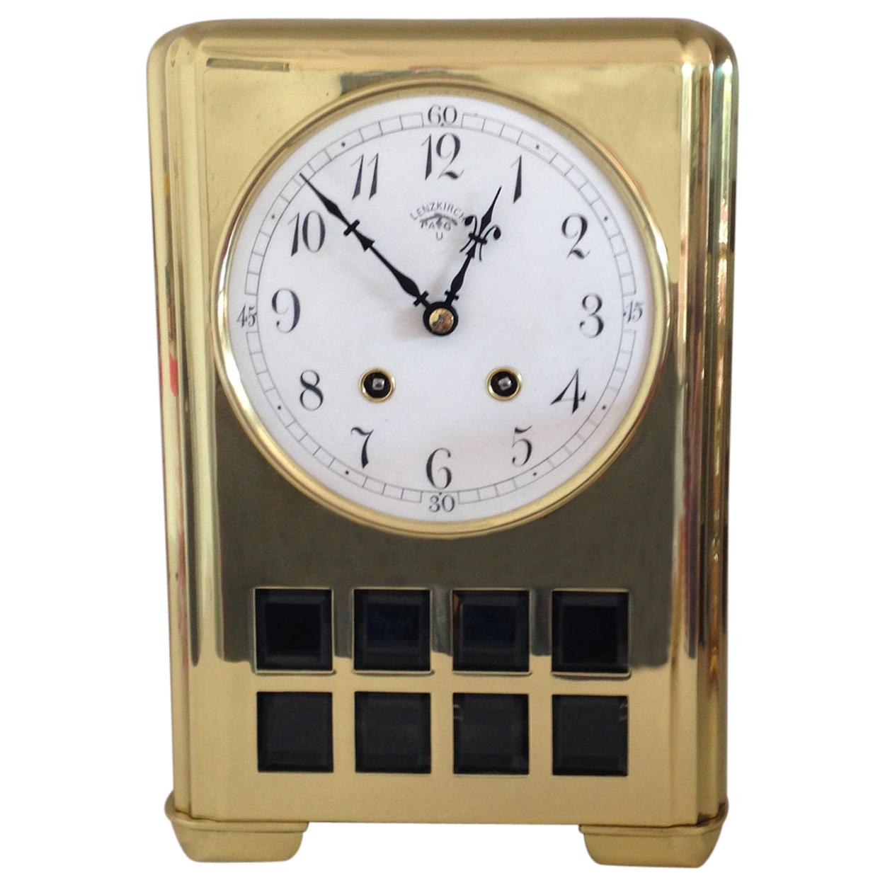 Lenzkirch Art Deco Brass Mantel Clock, circa 1920