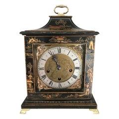 Lenzkirch Black Chinoiserie Georgian Style Three Train Musical Clock, 19thC