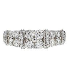 Leo 14 Karat White Gold Two-Row Diamond Ring 1.25 Carat