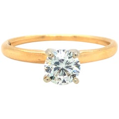 Leo 14 Karat Yellow Gold .62 Carat Diamond Solitaire Ring IGI Certified