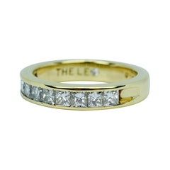 Leo 18k Yellow Gold Princess Cut Diamond Band .97ct Ring