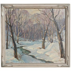 Leo B Blake New England Winter Stream Oil Painting