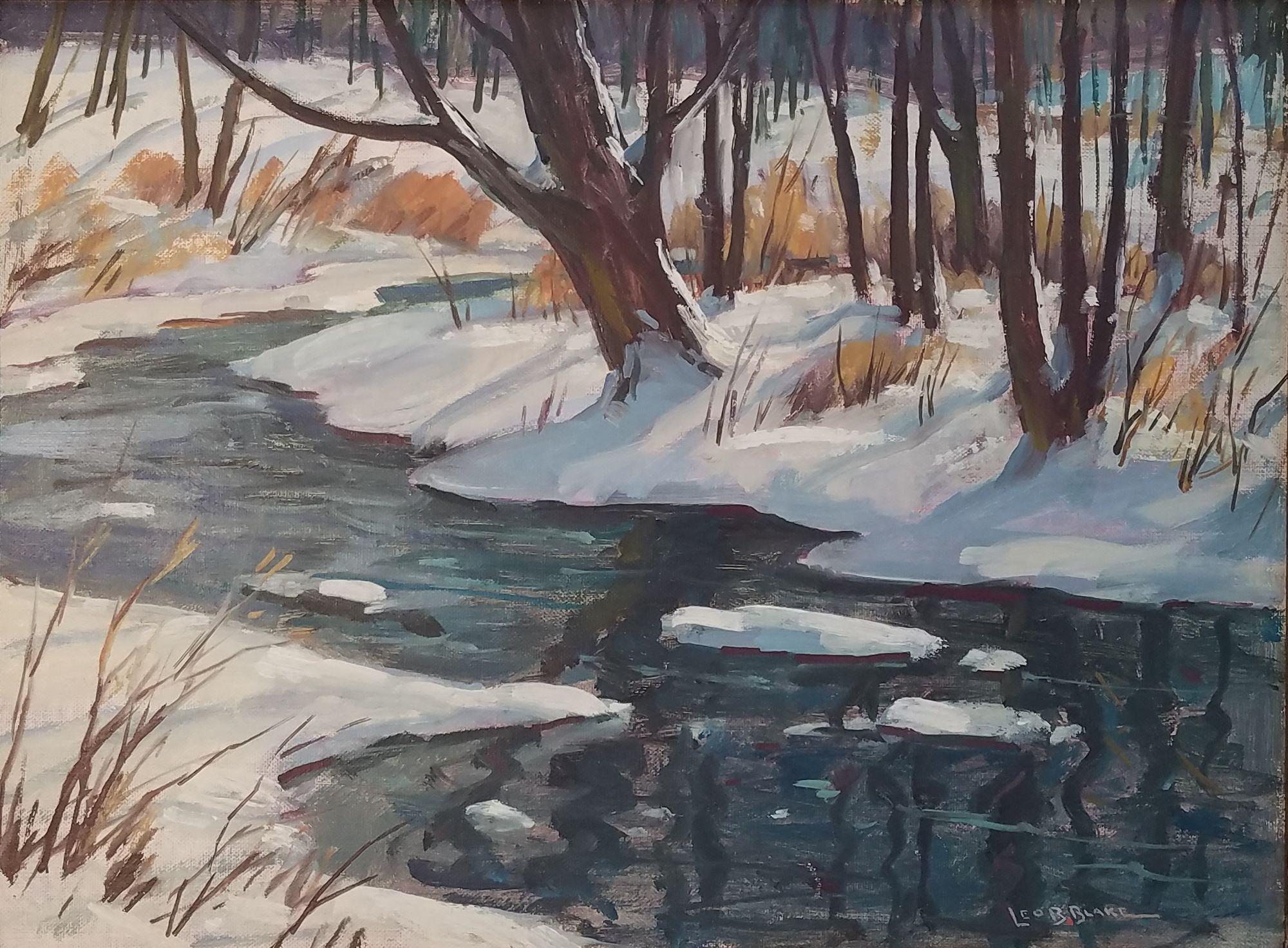 """""""Berkshires Winter Landscape,"""" Leo Blake, Snowy Stream in Massachusetts"""