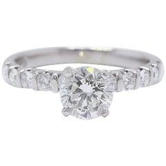 Leo Bridal Diamond Engagement Ring Round Cuts 1.70 Carat 14 Karat Gold Certified