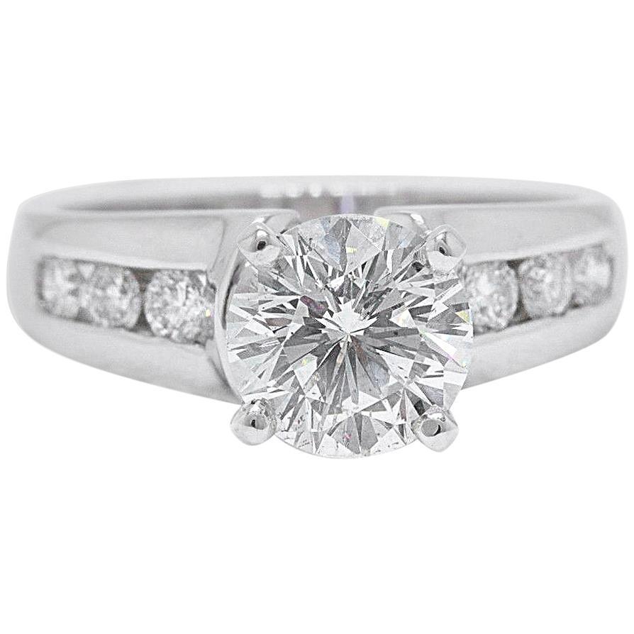 Leo Bridal Diamond Round Brilliant Engagement Ring 2.10 Carat 14 Karat Gold