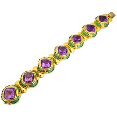Leo De Vrooman 18 Karat Gold, Guilloche Enamel and 66.49 Carat Amethyst Bracelet