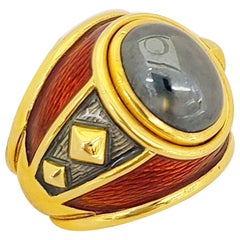 Leo De Vrooman 18 Karat Yellow Gold, Cabochon Hematite and Red Enamel Ring
