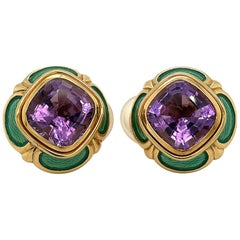 Leo De Vrooman 18kt Yellow Gold Earrings with 17.67ct. of Amethysts