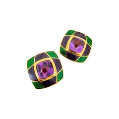 Leo de Vroomen 18 Karat Gold Earrings with Amethyst and Purple and Green Enamel