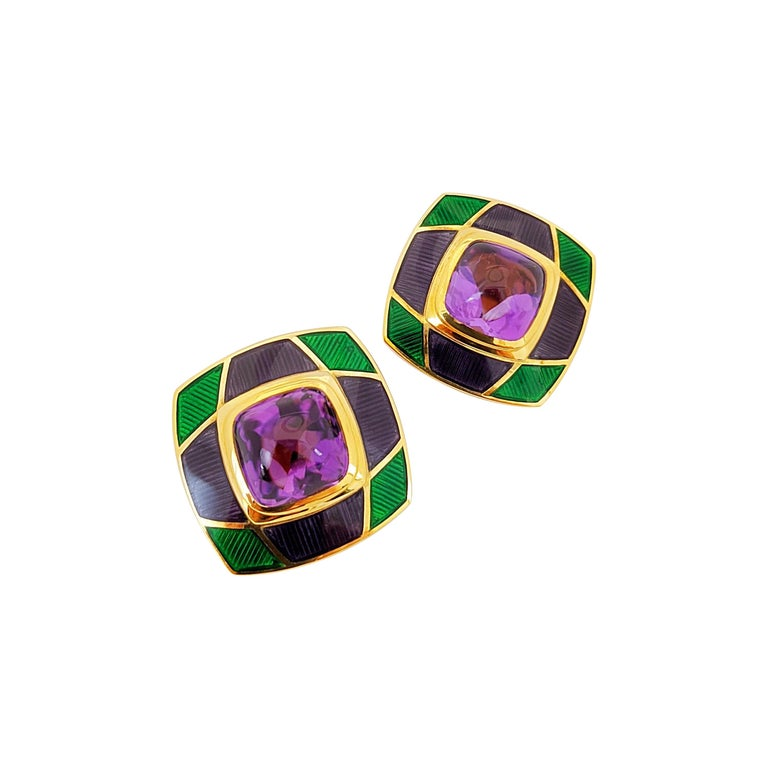 Leo de Vroomen 18 Karat Gold Earrings with Amethyst and Purple and Green Enamel For Sale