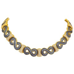 Leo de Vroomen 18 Karat Yellow Gold, 2.38 Carat Diamond and Gray Enamel Necklace