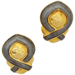 Leo De Vroomen 18 Karat Yellow Gold and Guilloche Grey Enamel Earrings