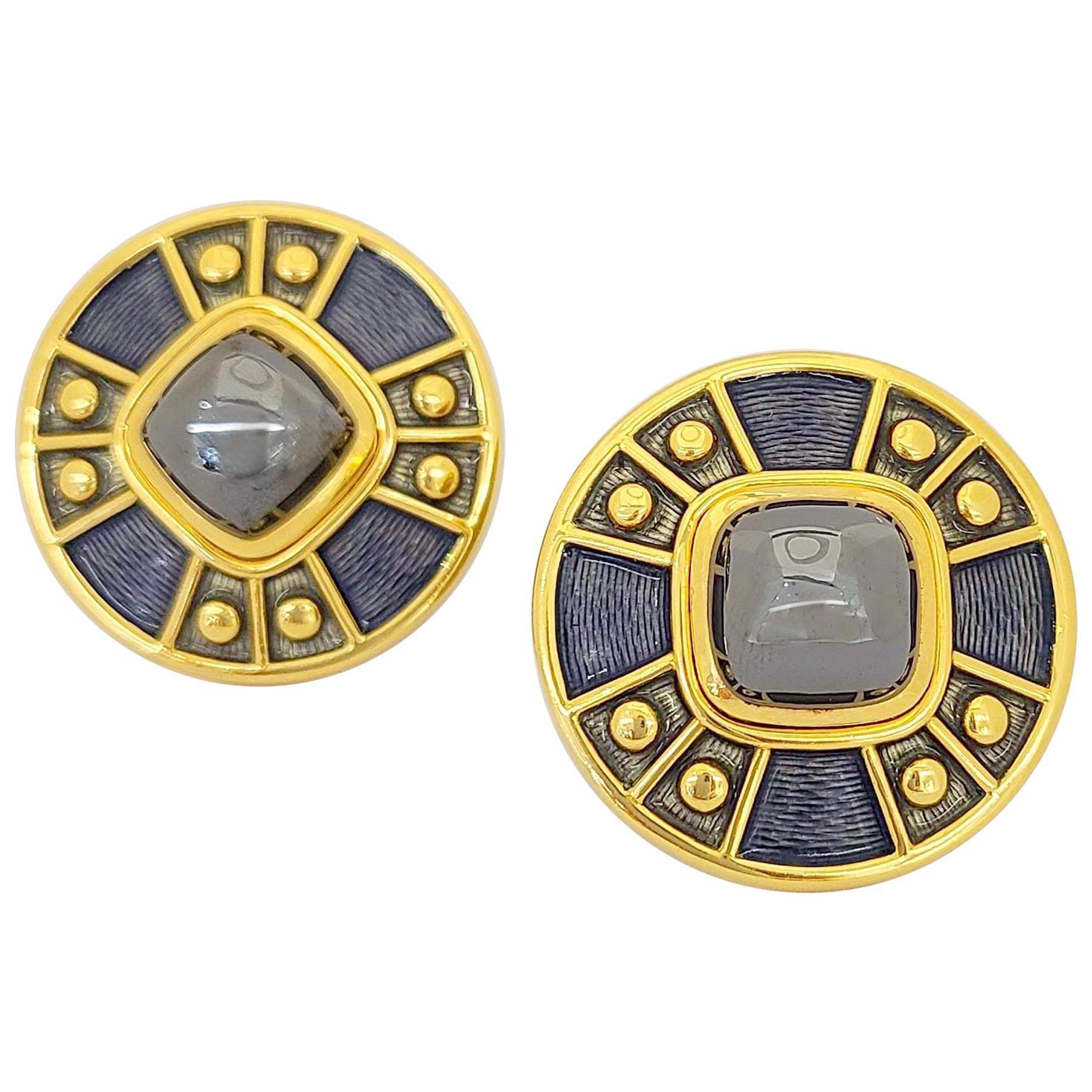 Leo de Vroomen 18 Karat Yellow Gold Earrings with Hematite and Enamel