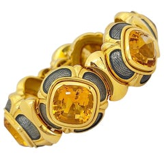 Leo De Vroomen 18KT Yellow Gold, 60.65Ct. Cushion Cut Citrine & Enamel Bracelet