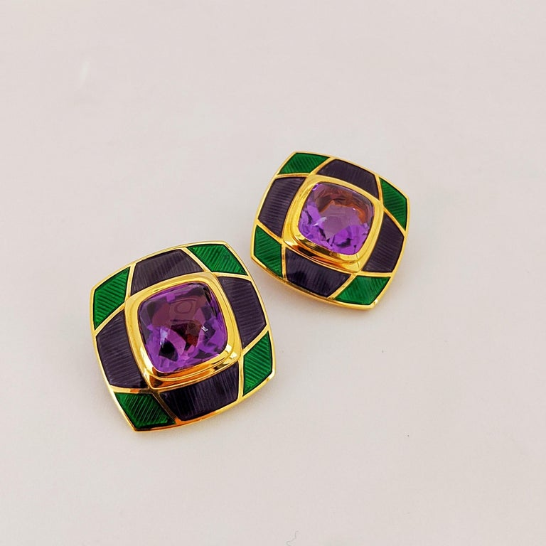 Contemporary Leo de Vroomen 18 Karat Gold Earrings with Amethyst and Purple and Green Enamel For Sale