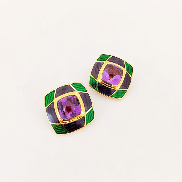 Cushion Cut Leo de Vroomen 18 Karat Gold Earrings with Amethyst and Purple and Green Enamel For Sale