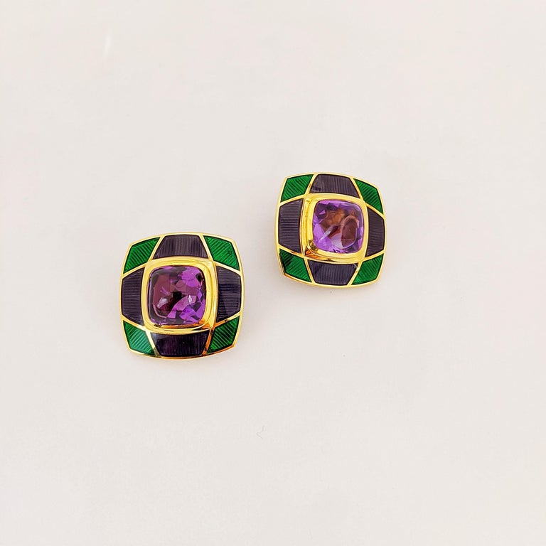 Leo de Vroomen 18 Karat Gold Earrings with Amethyst and Purple and Green Enamel In New Condition For Sale In New York, NY