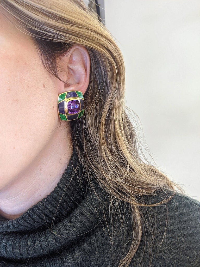 Leo de Vroomen 18 Karat Gold Earrings with Amethyst and Purple and Green Enamel For Sale 1