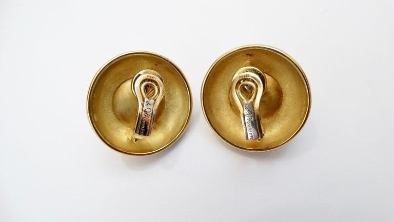 Women's or Men's Leo de Vroomen 1980s 18k Gold and Mabé Cultured Pearl Earrings  For Sale