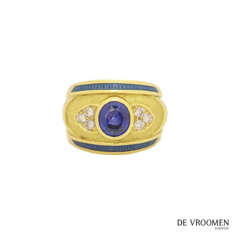 Leo de Vroomen Diamond and Sapphire Ring In Excellent Condition For Sale In London, GB