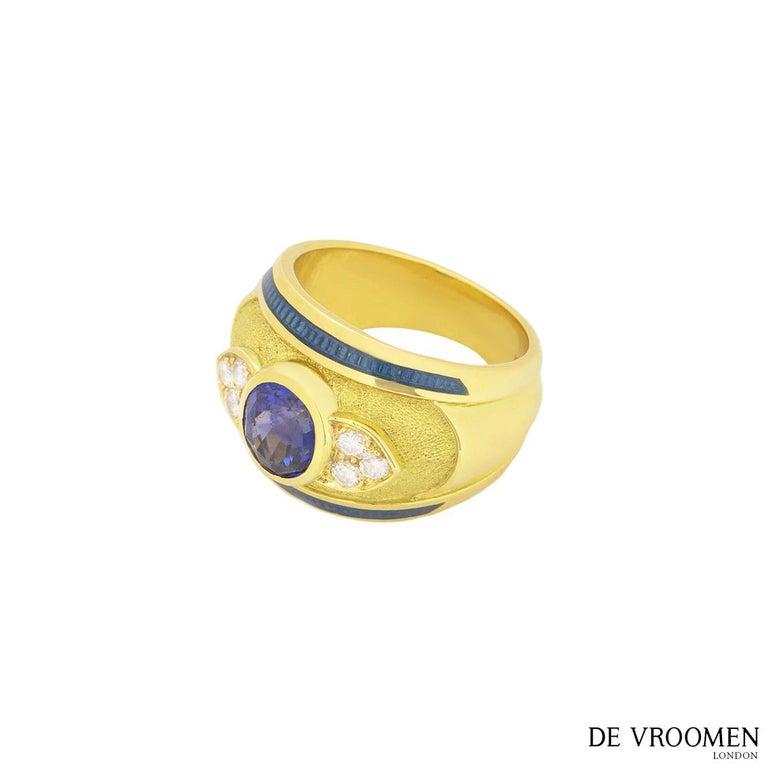 Women's Leo de Vroomen Diamond and Sapphire Ring For Sale