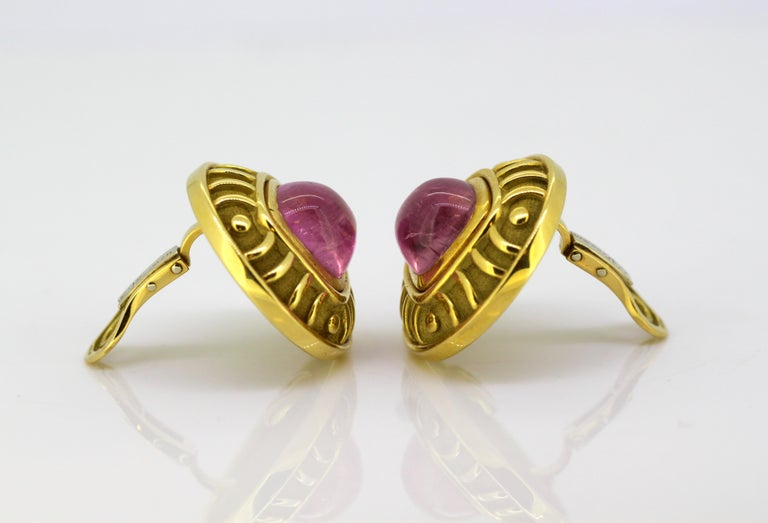 Leo De Vroomen Earrings, Gold and Natural Amethyst In Excellent Condition For Sale In Braintree, GB