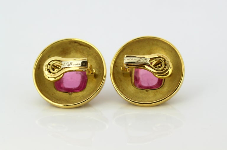 Leo De Vroomen Earrings, Gold and Natural Amethyst For Sale 3
