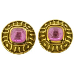 Leo De Vroomen Earrings, Gold and Natural Amethyst