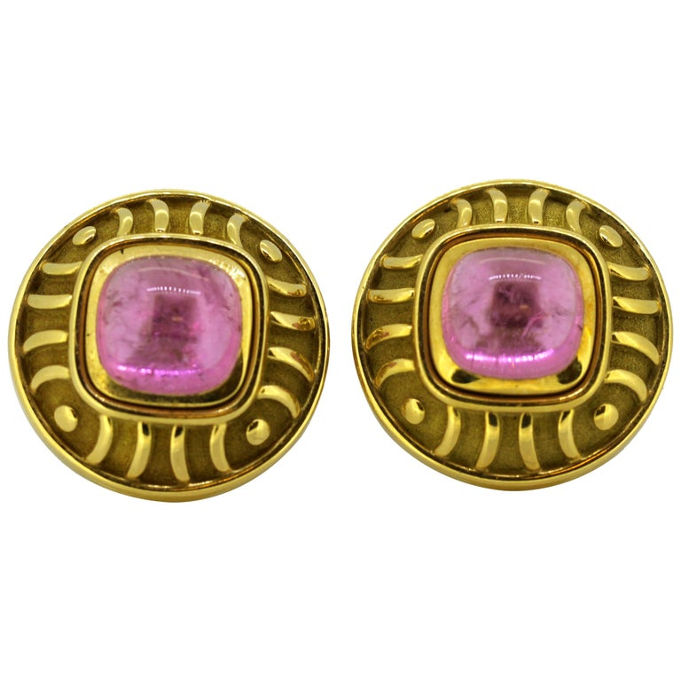 Leo De Vroomen Earrings, Gold and Natural Amethyst For Sale