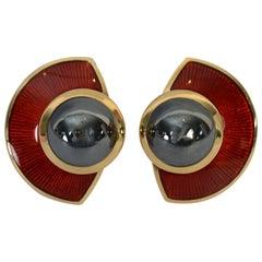 Leo De Vroomen Enamel and Hematite Earrings