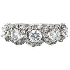 Leo Diamond 1.51 Carat Five-Stone Diamond Halo Wedding Band Size GSI