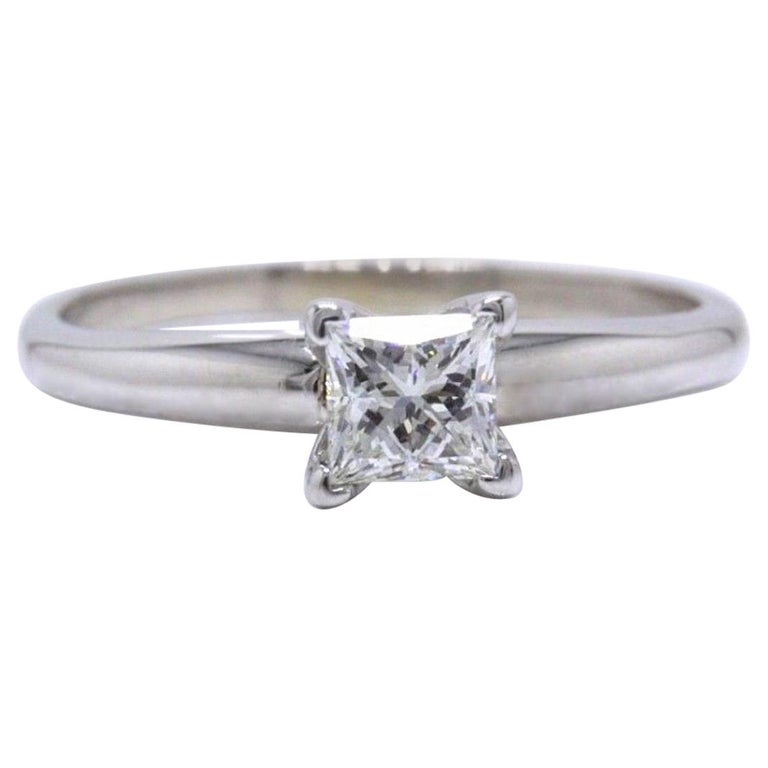6b1ba63c0c3b94 Leo Diamond Engagement Ring Princess 0.50 CT I VS2 14K White Gold Papers  For Sale