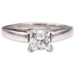 Leo Diamant Verlobungsring Prinzessin 0,72 Karat H SI1 14 Karat Weißgold