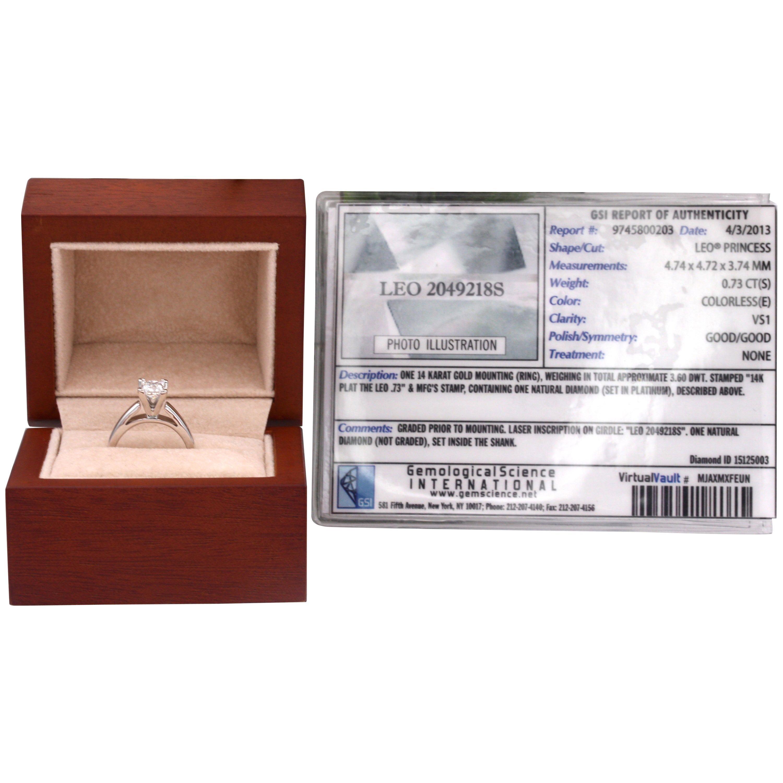 Leo Diamond Engagement Ring Princess 0.73 Carat E VS1 14 Karat Gold Certificates
