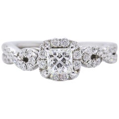 Leo Diamond Engagement Ring Princess 1.22 TCW Twist Diamond Band 14k White Gold
