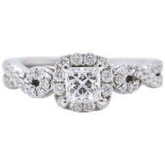 Leo Diamond Engagement Ring Princess 1.22 TCW Twist Diamond Band 14k White Gold