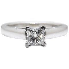 Leo Diamond Engagement Ring Princess Cut 0.69CT F SI1 14k White Gold Certificate