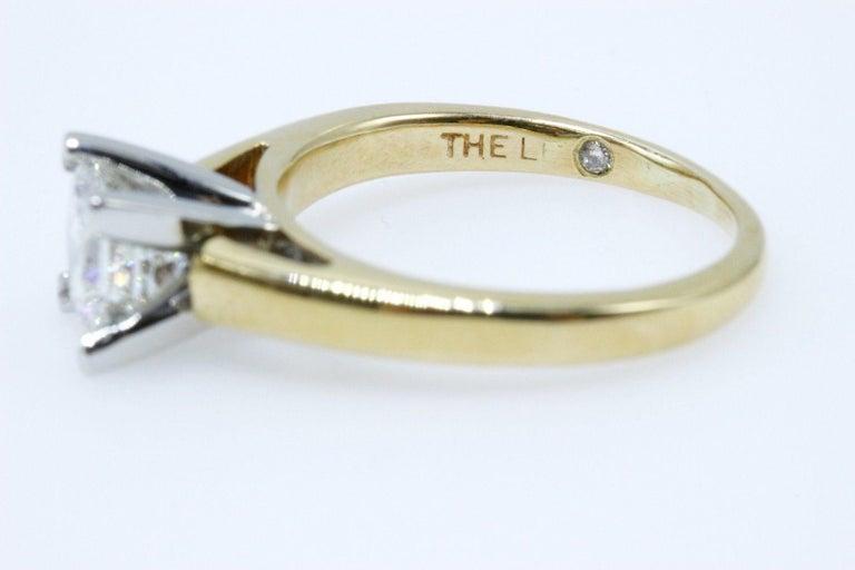 Leo Diamond Engagement Ring Princess Cut 0.97 Carat 14 Karat Yellow Gold For Sale 3