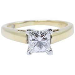 Leo Diamond Engagement Ring Princess Cut 0.97 Carat 14 Karat Yellow Gold