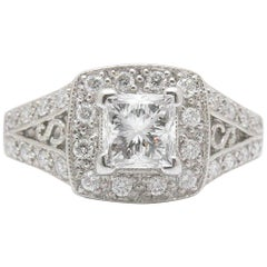 Leo Diamond Engagement Ring Princess Cut 1.32 TCW 14K White Gold Certificate