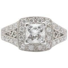 Leo Diamond Engagement Ring Princess Cut 1.32 TCW 14K White Gold Certificate