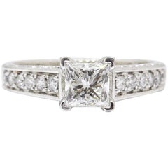 Leo Diamond Engagement Ring Princess Cut 1.48 TCW Diamond Accent Band 14k WG