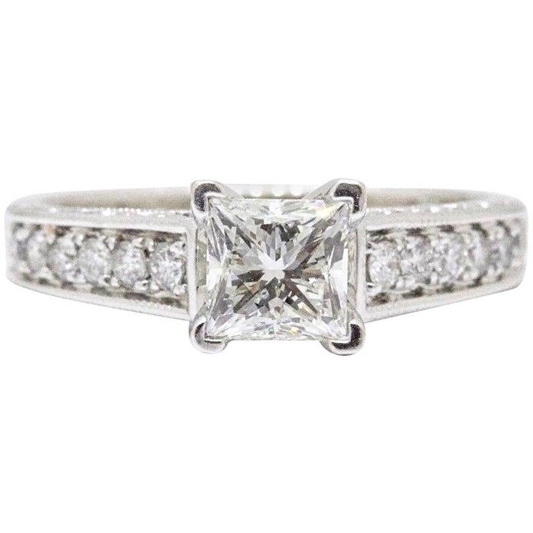 45739f327 Leo Diamond Engagement Ring Princess Cut 1.48 TCW Diamond Accent Band 14k  WG For Sale