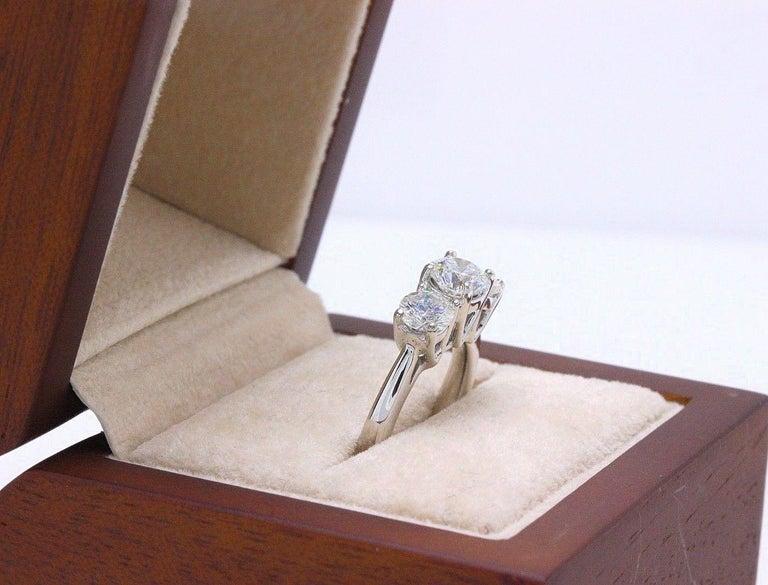 Leo Diamond Engagement Ring Three-Stone Rounds 1.51 Carat 14 Karat White Gold For Sale 6