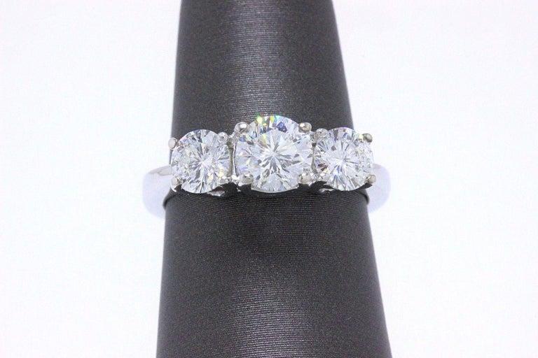Women's Leo Diamond Engagement Ring Three-Stone Rounds 1.51 Carat 14 Karat White Gold For Sale