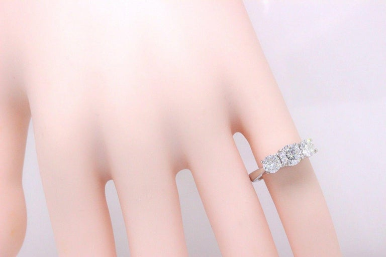 Leo Diamond Engagement Ring Three-Stone Rounds 1.51 Carat 14 Karat White Gold For Sale 2