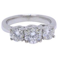 Leo Diamond Engagement Ring Three-Stone Rounds 1.51 Carat 14 Karat White Gold
