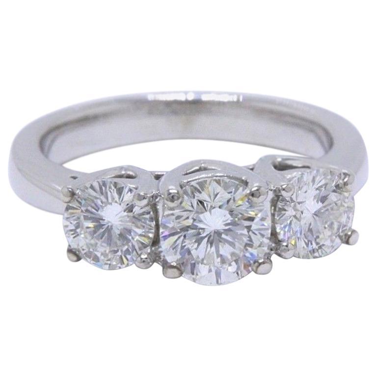 Leo Diamond Engagement Ring Three-Stone Rounds 1.51 Carat 14 Karat White Gold For Sale
