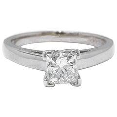 Leo Diamond Princess Cut 0.95 Carat H SI1 Solitaire Ring 14 Karat White Gold