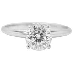 Leo Diamond Round Brilliant Solitaire Engagement Ring 1.00 CTS H SI1 14K W G